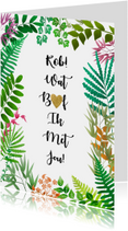 Leuke liefde kaart met blaadjes en hartje in tekst