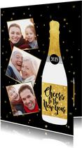 Leuke nieuwjaarskaart met champagnefles en foto's