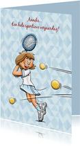 Leuke tennis- verjaardagskaart van een vrouw