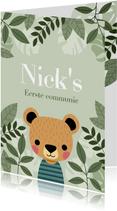 Leuke uitnodiging eerste communie met beer en plantjes