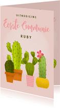 Leuke uitnodiging eerste communie met cactussen en waterverf