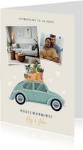 Leuke uitnodiging housewarming verhuisauto foto's & plantjes