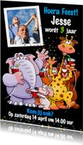 Leuke uitnodiging kinderfeest met grappige dieren en foto