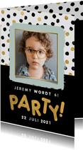 Leuke uitnodiging kinderfeestje met confetti, foto en party!