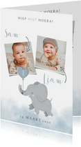 Leuke uitnodiging kinderfeestje voor tweeling met olifantje