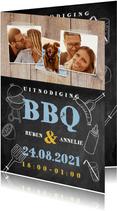 Leuke uitnodiging voor een BBQ met hout, krijtbord en foto's