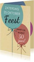 Leuke uitnodiging voor verjaardag met 2 ballonnen