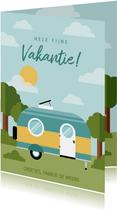 Leuke vakantiekaart met caravan en omgeving