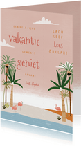 Leuke vakantiekaart tropische boekenlegger met flamingo's