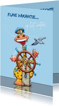 Leuke vakantiekaart voor schipper op een zeilboot of jacht