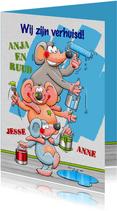 Leuke verhuiskaart 3 muizen schilderen muur blauw