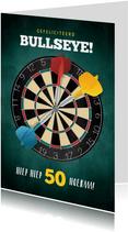 Leuke verjaardagskaart darten 50 jaar voor man