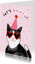 Leuke verjaardagskaart Let's Pawty roze kat confetti