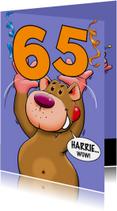 Leuke verjaardagskaart met beer en losse cijfers leeftijd