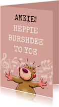 Leuke verjaardagskaart met beer en muzieknoten