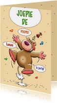 Verjaardagskaarten - Leuke verjaardagskaart met blij juichend beertje