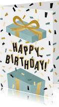 Leuke verjaardagskaart met cadeau, confetti en typografie