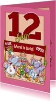 Leuke verjaardagskaart met dieren en rode aanpasbare cijfers