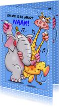 Leuke verjaardagskaart met grappige giraf en olifant