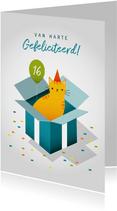Leuke verjaardagskaart met kat in doos, ballon en confetti