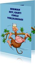 Leuke verjaardagskaart met swingende  aap met cool biertje