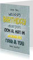Leuke verjaardagskaart met typografie Happy birthday to you