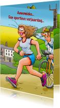 Leuke verjaardagskaart met vrouw die aan hardlopen doet