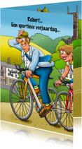 Leuke verjaardagskaart met wielrenner in een mooie omgeving