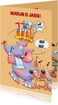 Leuke verjaardagskaart olifant en muizen met limonade