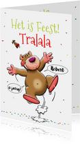 Leuke verjaardagskaart Tralala met dansend beertje