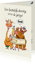 Leuke verjaardagskaart voor een jarige man met piano
