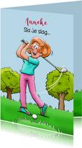 Leuke verjaardagskaart voor een vrouw die golf speelt