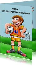 Leuke verjaardagskaart voor voetballende man rond de 40 jaar