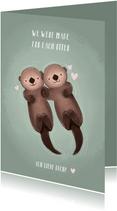 Liebeskarte Otter mit Herzen & Foto innen