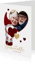 Liebevolle Weihnachtskarte Weihnachtsmann und Herzen