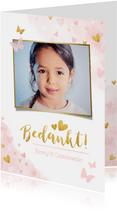 Lief bedankkaartje voor een meisjes communie vlinders hartje