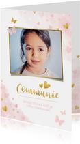 Lief felicitatiekaartje communie roze waterverf met hartjes