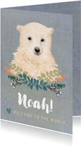 Lief felicitatiekaartje met een baby ijsbeer