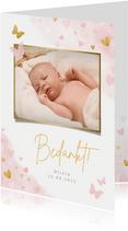 Lief geboorte bedankkaartje met foto voor een meisje