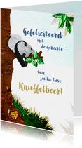 Lief geboorte felicitiatie kaartje voor een jongen met panda