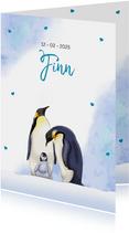 Lief geboortekaartje met 2 trotse pinguïns met jong