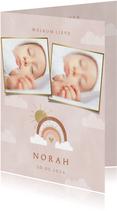 Lief geboortekaartje met foto's, regenboog en wolkjes
