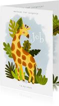 Lief geboortekaartje met giraffe, plantjes en waterverf