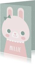 Lief geboortekaartje met konijn en stipjes meisje