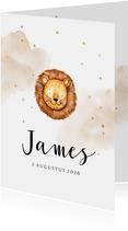 Lief geboortekaartje met leeuwtje en gouden sterretjes