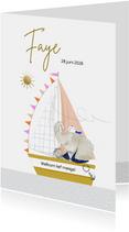Lief geboortekaartje met olifantje en zeilboot