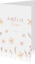 Lief geboortekaartje met takjes en bloemetjes
