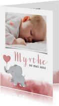 Lief geboortekeaartje met olifantje en roze waterverf