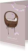 Lief kaartje ter felicitatie geboorte kleindochter met wieg