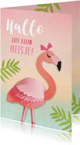 Lief klein meisje flamingo